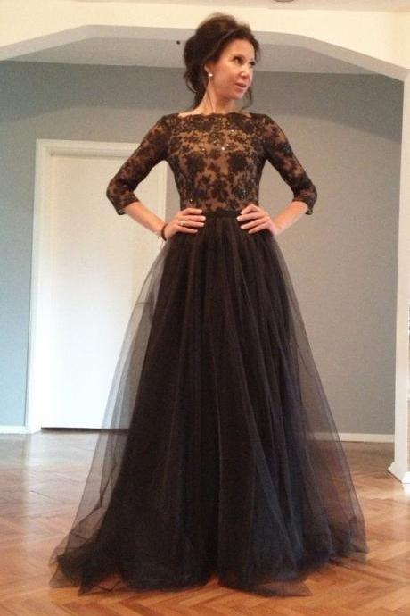 Half Sleeve 2017 Black Evening Dresses Sequins Beaded Sweep Train Tulle Appliques Evening Wear Dress New Vestidos For Party Formal Prom Gowns