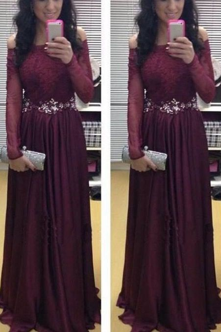 New Burgundy Evening Dresses 2017 Off Shoulder Sash Piping Long Sleeve Sheath Evening Wear Dress Bateau Vestidos For Party Formal Prom Gowns