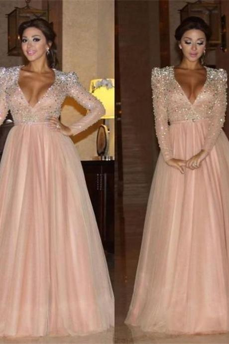 2018 Arabic Myriam Fares Evening Dresses Deep V-Neck Sash Rhinestones New Sparkly Long Sleeves Evening Wear Dress For Party Formal Prom Gowns