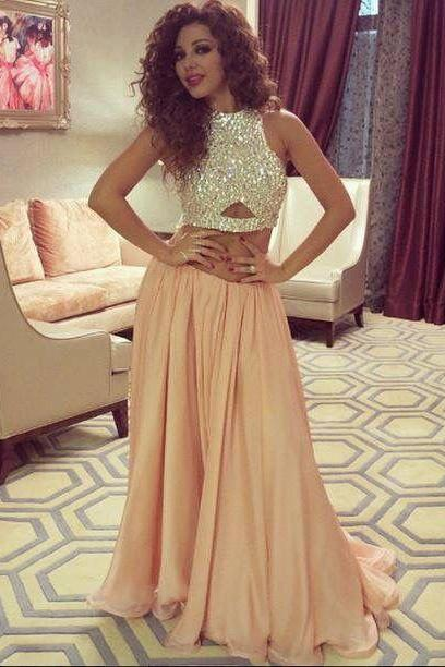 Two Pieces Shinning Evening Dresses Jewel Collar Sweep Train Nude Beaded Myriam Fares Evening Wear New Prom Pageant Formal Party Dress Gown
