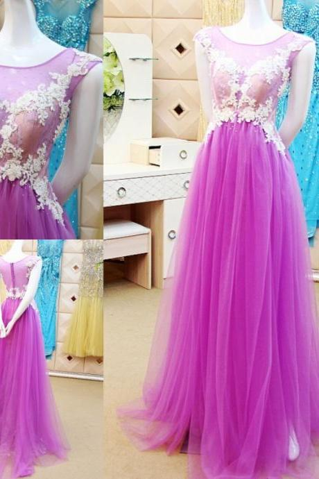 2017 3D-Floral Appliques Wedding Dresses Hollow Back Sweep Train Sheer Neck Beaded Scoop Collar Pleats New Wedding Dress Bridal Gown Vestido