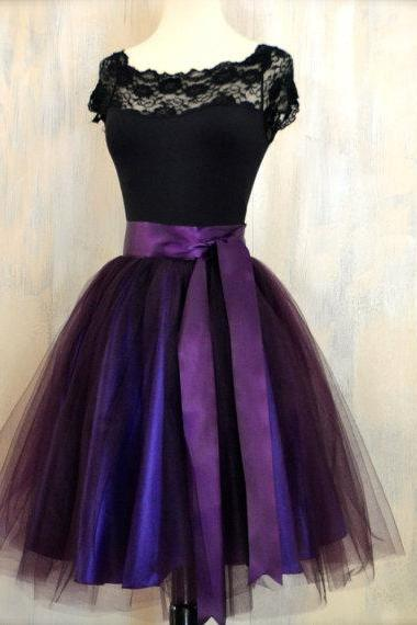 Dark Purple Graduation Dresses 2016 Scoop Collar Beaded Sequins Sash Ribbon Bow Lace Cheap Skirt Prom Cocktail Gown Formal Homecoming Gowns