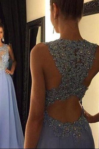 Sexy Back Designer With Lace Applique Evening Formal Dresses Sequined Chiffon Floor length Pleated Custom Prom Pageant Dress Gown 2017 Cheap