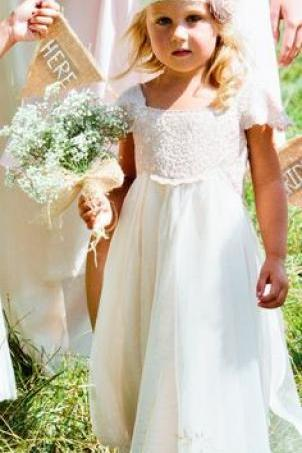 Flower Girls Dresses For Wedding Communion Dress Lace Flower Girl Short Sleeve Bateau Collar Sweety Birthday Wear Pageant Flower girl Wedding