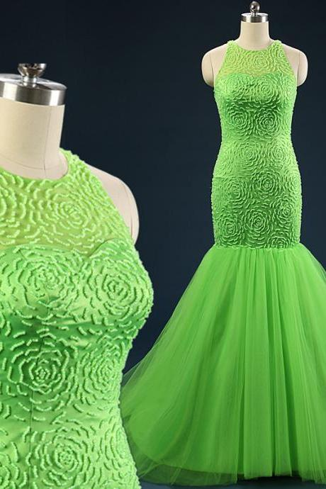 Green Gradient Ombre Dresses Jewel Collar Prom Dress Evening Wear Formal Party Gown Celebrity Gowns Sweep Train Sheer Neck Elegant Dress