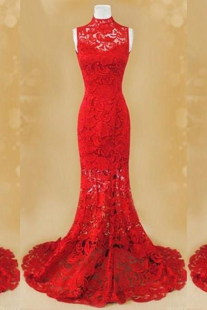 red dress.dresses 24,long prom dress,long evening dress,high neck,lace evening dress,lace dress,hollow back dress,red evening dress