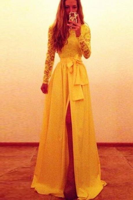 yellow evening dresses,prom dresses,split evening dress,split prom dress,chiffon prom dress,lace evening dress,long dress,