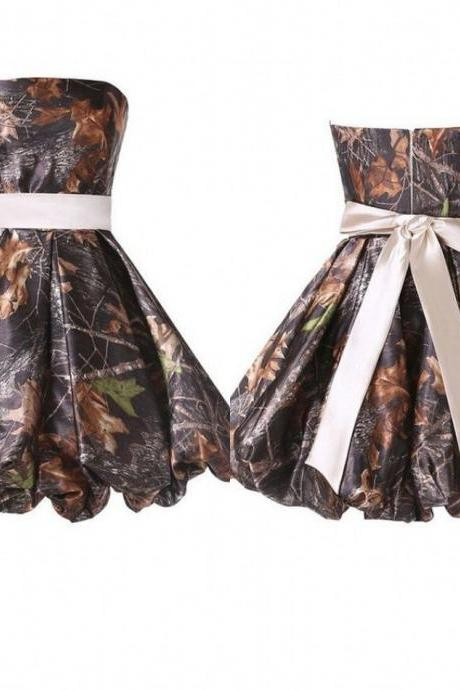 camo bridesmaid dress,short bridesmaid dress,strapless bridesmaid dress,backless bridesmaid dress,cheap bridesmaid dress,graduation dress,homecoming dress,party dress,cocktail dress