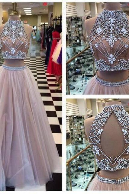 Royal High Neck Evening dresses Long Cheap Backless With Crystal Sequin A line Princess Formal Dresses Prom dress Gowns 2016 New Sexy Designer
