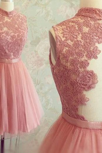 Fashion Coral Homecoming Dresses , High Neck Lace Short Prom Dresses , Cheap , A line , Applique , Evening Formal Dresses , Party Gowns
