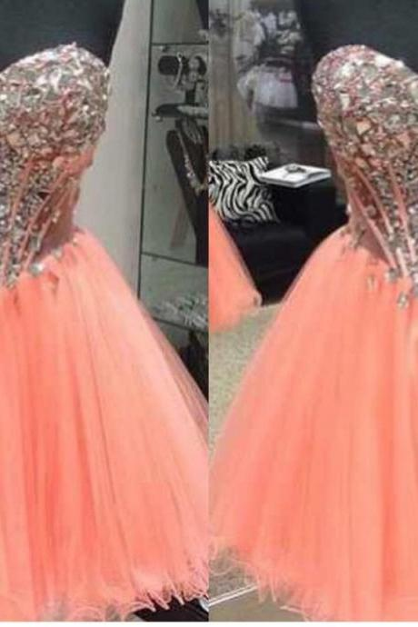 2018 Cheap Homecoming Dresses Crystal Bodice Sweetheart Corset See Through Prom dresses ,A line ,Tulle , Rhinestones , Short Prom Dresses