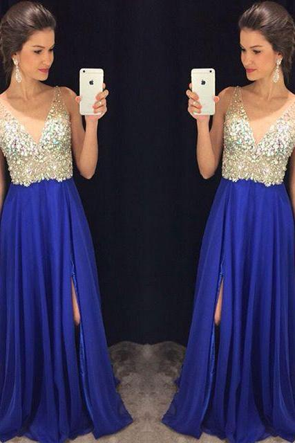 Deep V neck Sexy Side Split Royal Blue Prom Dresses long Chiffon Prom Gown Backless Pleated Crystals Evening Formal Dress Maxi Dress 167