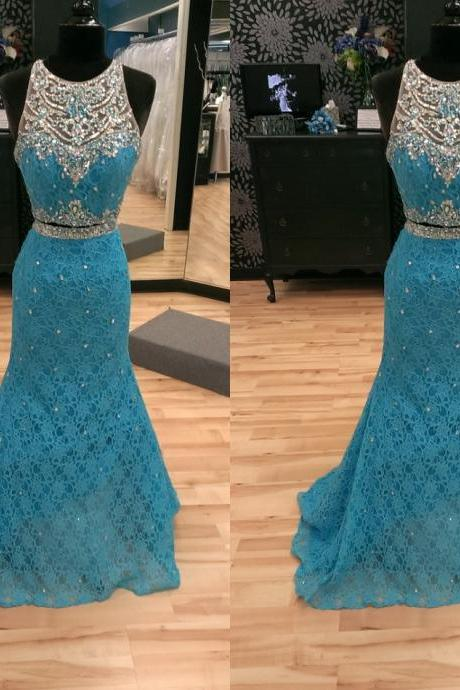 Sexy Illusion Sheer Neckline Prom Dresses Two Pieces Lace bodice Floor length Long Cheap Mermaid Evening Formal pageant Dress 169
