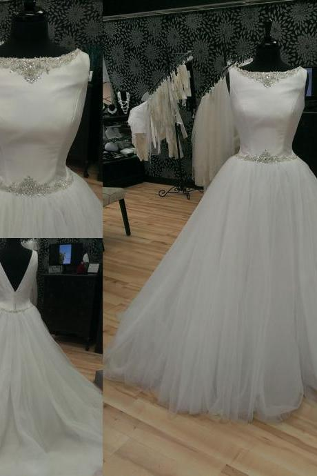 Vintage Ball Gown Wedding dresses Bling Crystal Ribbon Tulle Satin Court Train Bridal Dress Long Cheap 171
