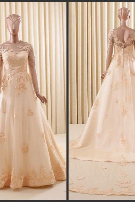 Champange Wedding Dresses Sheer Neckline With Long Illusion Sleeves Lace Applique Bridal Wedding Gowns Custom Cheap 2016