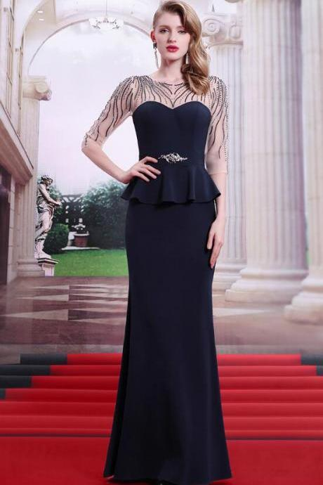 Chiffon Beadings Black Dresses Bateau Neckline Long Iullsion Sleeves Floor Length Elegant Modern Dresses 2016 Cheap