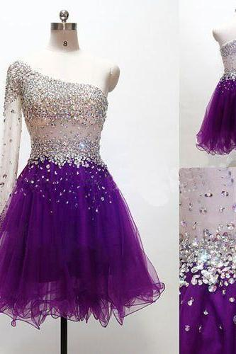 Sequins Dresses Crystals Gown 2016 One-shoulder New Designer Long Sleeve Short Prom Min Dresses Tulle Party Dresses Cute Fashion