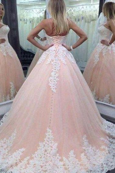 Champange Wedding Ball Gown Count Train Appliques White Lace Up Back Sweetheart Neck Wedding Gowns Cheap Price 2016
