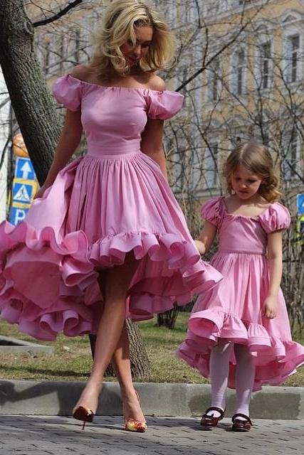 Women's dress Juliet Sleeve High Low Prom Wedding Party Dress Flowers Girls Dress Short Pink Prom Mother Dress US85 Girls Dress US65