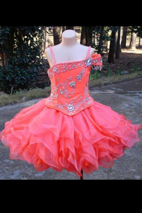 2018 Tiered Skirts Mini Pageant Dresses For Little Girls One shoulder Short Party Dress Sequin Crystals Beading Flower Girls Dresses