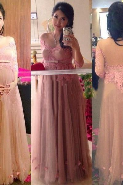 Maternity Dress Tulle Gown With Appliques Long Sleeves Backelss Sexy Mother Dress Elegant Cheap Guest Formal Dresses Fashion Dress 2016