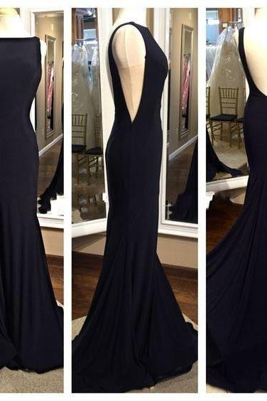 2018 Sexy Black Dresses Evening Wear Mermaid Style Bateau V Backless Chiffon Simple Long Prom Dresses Formal Party Dress