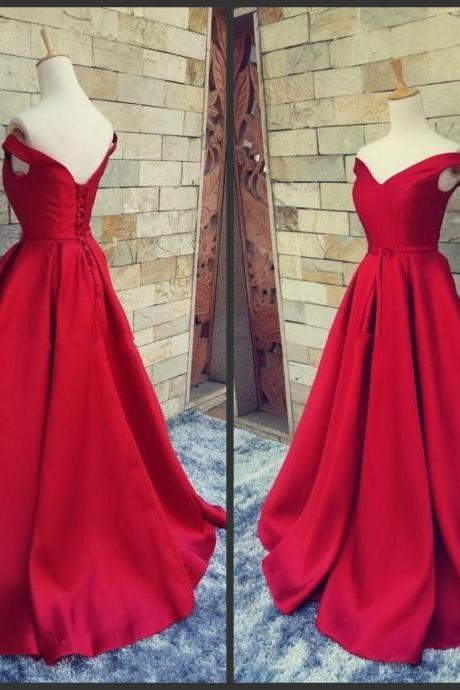 Off-shoulder Neck V Neck Lace Up Back Red Evening Dresses 2016 Long Homecoming Dressed