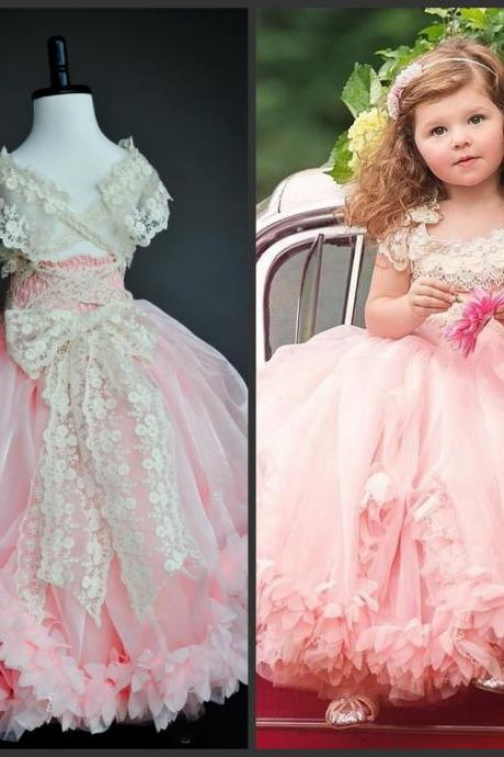 Ball Gown Pink Dress Appliques Short Sleeve Scoop Neck Lace Up Back Pleats Pipings Sweet Girls Dress Beautiful Cute Cheap Price