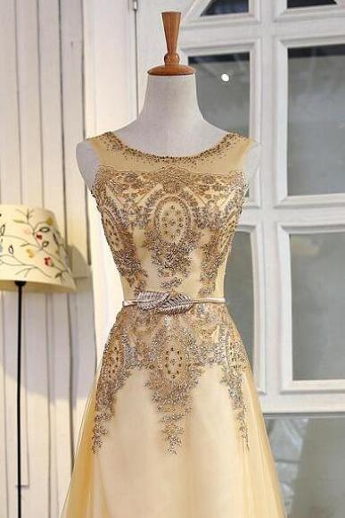 Golden Prom Dress With Beading Pearls Iullsion Neck Zipper Back Bling Dress Aline Crystals Zipper Or Lace Up Decent High Quality