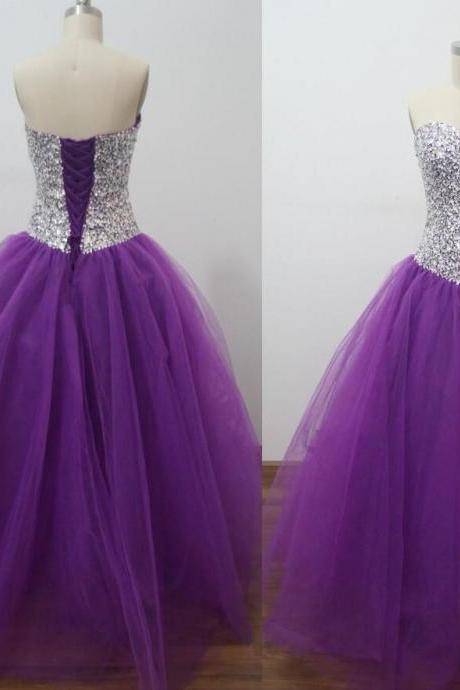 Ball Gown Purple Lace Up Back Tulle Dress Pageant Dress Fashion Style Modern Designer LOng Prom Dress Sequins Dress Quinceanera Gown