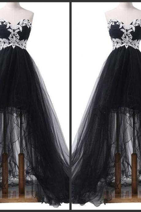 Black Strapless Tulle Prom Dress with High Low Hem and White Lace Appliqués