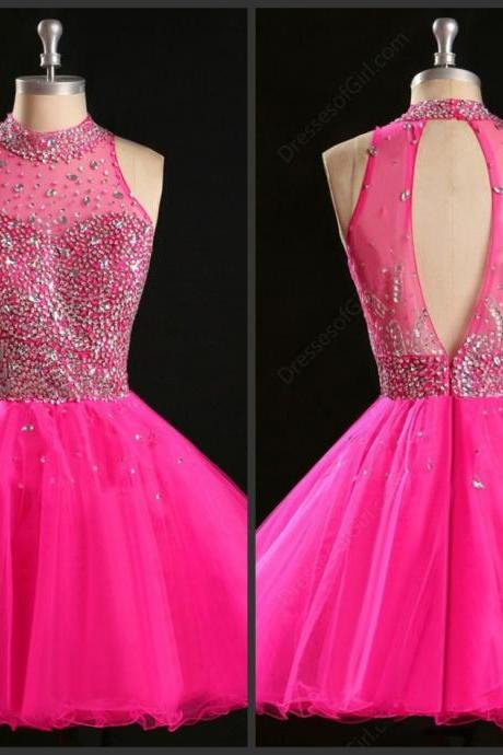 Aline Fuchsia Pink Short Party Dress 2016 Halter Neck Open Back Backess Sexy Crystals Sequins Sleeveless Mini Dress Iullsion Little Prom Dress Homecoming