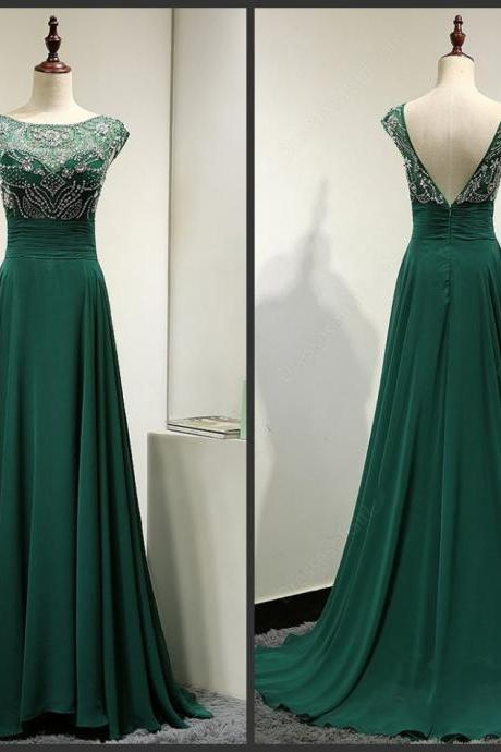 Green Prom With Beading Sequins Dress Bateau Neck Capped Sleeve V-sharped Open Back Backless Sexy New Design Sweep Train Elegant 2016