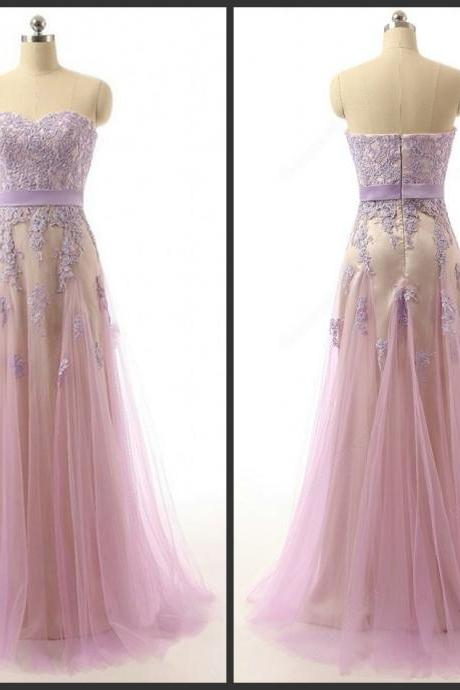 2016 Prom Dress Pink Dress With Light Purple Appliques Aline Style Zipper Back Sweetheart Neck Tulle Gown Elegant Pageant Dress Cheap Long Homecoming Dress
