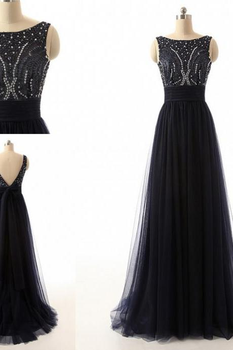 Black Sleeveless Bateau Neck Tulle Long Prom Dress with Beads Embellishment