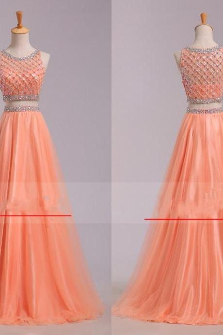 Two Pieces Dress Organe Prom Gown 2016 Jewel Neck Zipper Back Crystals Beading Sleeveless Matching Intricate Exquisite Sparked Bling Dresses