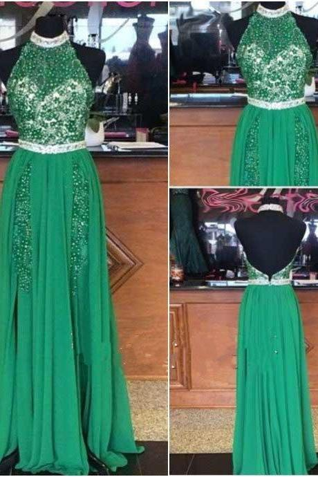 Green Prom Dress Two Sides Split Youth Dress Halter Neck Open Back Full Beaded Unique Designer Chiffon Dresses Classic Tradition 2016