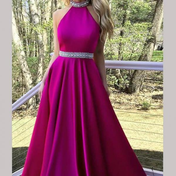 ... 20118 Fashion Prom Dress Long A-line Halter Crystal Beaded Backless  Satin Long Evening Gowns 2018 Red ... dd85f44e0