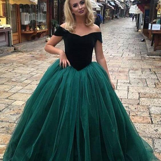 5352cf1f0253 Emerald Velvet Ball Gown Prom Dresses Long 2018 Cold Should Neckline Open  Back Evening Party Dress ...