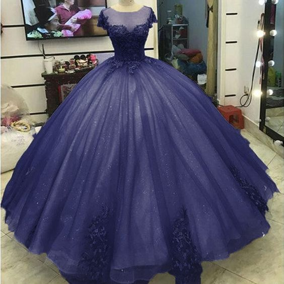 Dark Purple Sheer Neckline Prom Dresses Ball Gown,Quinceanera Dresses,Graduation Dresses,Party Dresses