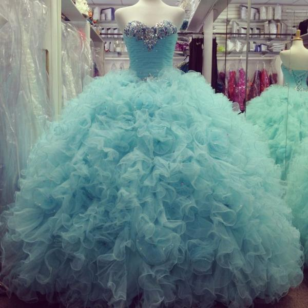 Sweetheart Quinceanera Dresses With Ruffles,Crystal Beads Sequins Prom Dress Ball Gown,Graduation Dresses 6th Grade