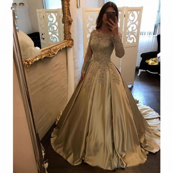 Long Sleeve Off The Shoulder Prom Dresses Evening Dresses Lace Applique Beaded Formal Dresses Winter Sale