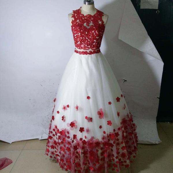 Real Image Quinceanera Dresses,Two Pieces Ball Gowns Prom ,Red Lace Beaded Quinceanera Dress,Hand Made Flowers Graduation Dress