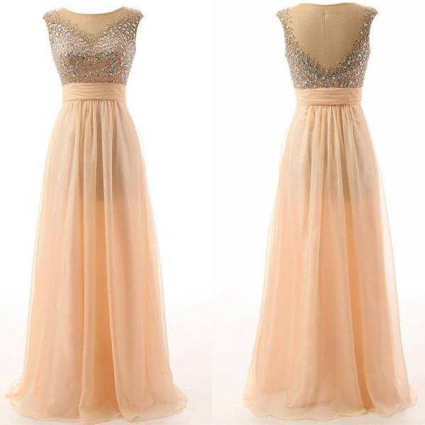 Peach Sheer Neckline Crop Prom Dresses Chiffon Floor length Crystal beaded Sequin Long Cheap Evening Dresses New Formal Gowns Real Image Pageant Dresses