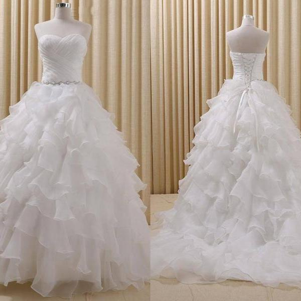 2017 Simple sweetheart Ball Gown Wedding Dresses Organza Backless Crystal Ribbon Ruffles Wedding Gowns White Ivory Bridal Dresses 2017 New
