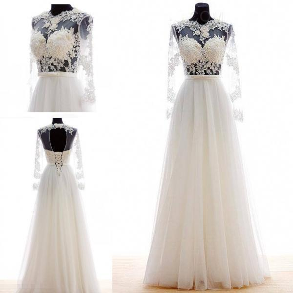 Illusion Sheer Lace A-line Chiffon Floor-Length Wedding Dress with Long Sleeves and Cutout Back