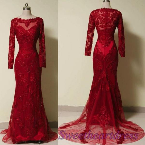 2016 Red Evening Dresses Long Sleeves Sequins Beaded Scoop Collar Court Train Beading Evening Wear Dress Vestidos For Party Formal Prom Gowns