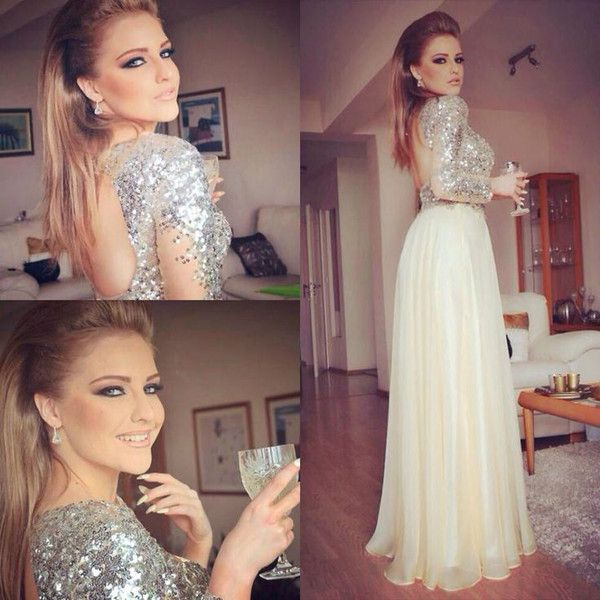 Sparkly Evening Dresses 2017 Sequins Hollow Back Long Sleeves Piping Floor-Length New Evening Wear Dress Vestidos For Party Formal Prom Gowns