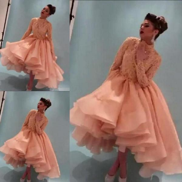 BeadedCollar 2017 Myriam Fares Evening Dresses Ruffles Hi-Lo Long Sleeve High Neck Sequins Beading New Prom Pageant Formal Party Dress Gown