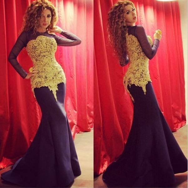 Long Sleeve Evening Sleeve Sheer Neck Yellow Appliques Court Train Zipper Evening Wear New Prom Pageant Formal Party Dress Gown Myriam Fares